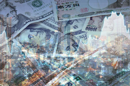 Double exposure of city of business , financial graph and Japanese Yen and USD Dollar Bank note pile, Business and finance concept