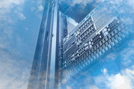 international internet: Double exposure of cloud and sky with servers computing technology in data center creative cloud concept Stock Photo