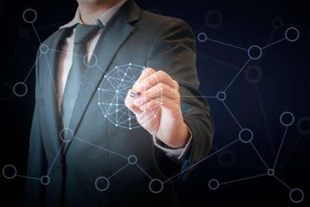 Doppelbelichtung des Berufsgeschäftsmannes rührenden virtuellen Schirm auf einer digitalen Schnittstelle, zum des Weltnetzes im Geschäfts- und Technologiekonzept anzuschließen Standard-Bild - 76459853