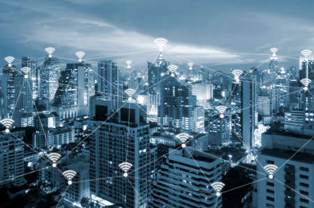 Internet wifi connected all place in smart city of business for work life integration and internet of things , technology and communication concept