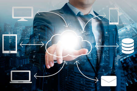 Professional businessman drawing design cloud connectivity on digital screen in Technology concept