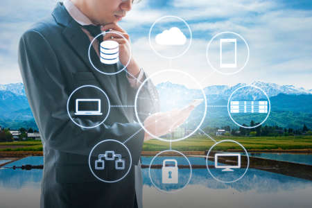provide: Cloud and network technology connected all devices with landscape background in VDI technology concept