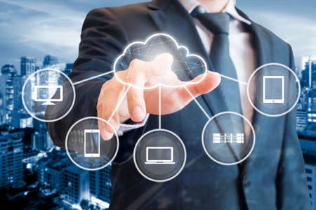 Cloud connected devices with data center background in Technology and business concept