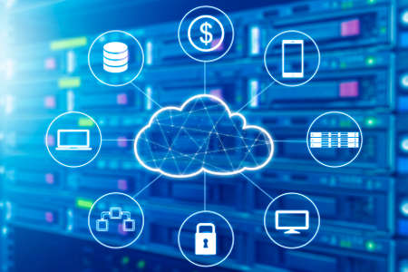 Cloud technology connected all devices with server and storage in datacenter background Stok Fotoğraf - 80617839