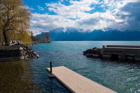 Beautiful landscape of the Alps on Lake Geneva at Montreux, Switzerland