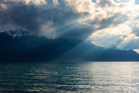Beautiful sunset and snow mountains at Lake Geneva, Montreux, Switzerland
