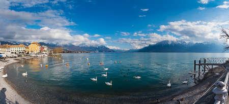 Beautiful panoramic landscape view at lake Geneva, Vevey, Switzerland
