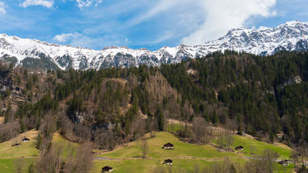 The snow mountain view from Lauterbrunnen station, Switzerland Imagens