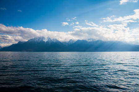 Beautiful landscape of the Alps on Lake Geneva at Montreux, Switzerland
