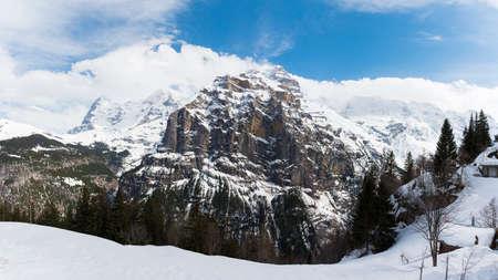 The peak of snow mountain at Murren Village, Switzerland