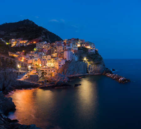 Manarola, 1 of 5 fishing village of Cinque Terre, coastline of Liguria in La Spezia, Italy Stockfoto