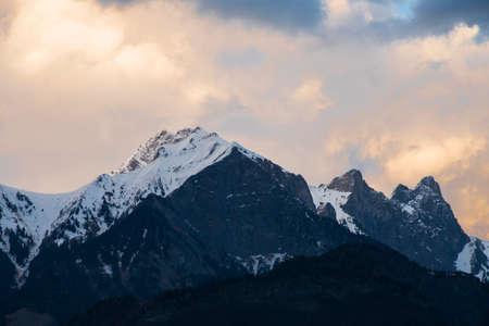 Beautiful snow mountain with sunlight at Switzerland