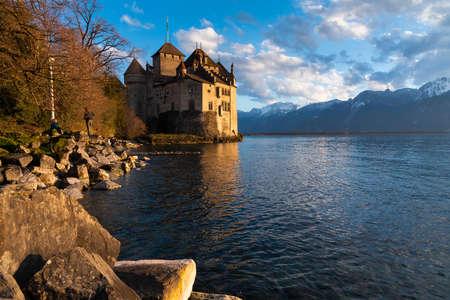 Beautiful landscape of famous Chateau de Chillon at Lake Geneva, Montreux Switzerland
