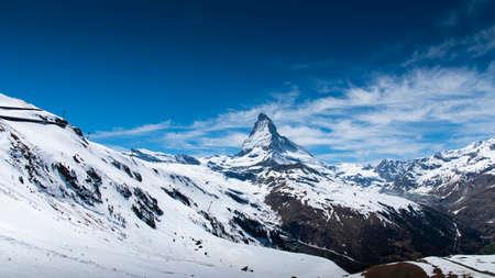 The famous Matterhorn snow mountain landscape at Gornergrat station in Zermatt, Switzerland
