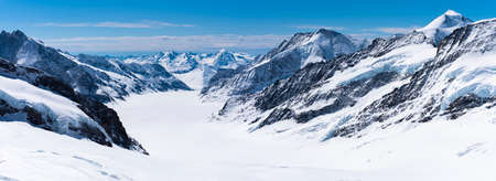 Aletsch Glacier/Fletsch Glacier. Panoramic view  part of Swiss Alps alpine snow mountains landscape from Top of Europe at Jungfraujoch station, Switzerland