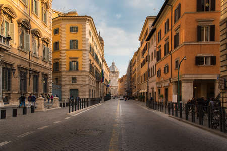 Rome, Italy - 27 MAR 2018: The views of Corso Del Rinascimento street and old architectures near Piazza Navona and Pantheon