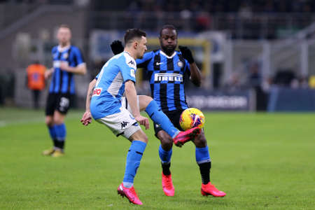 Milan. Italy. 12th February 2020. Italian Cup semi-final first leg. Fc Internazionale and Ssc Napoli. Mario Rui of Ssc Napoli.