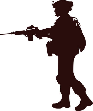 silhouette soldier 向量圖像