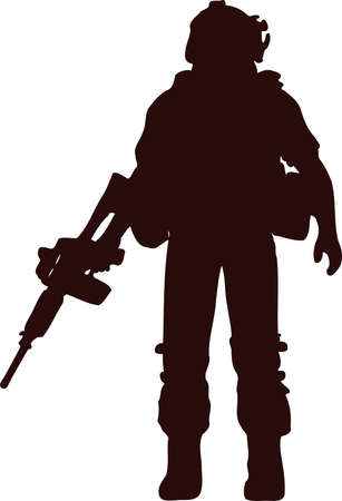 silhouette soldier5 向量圖像