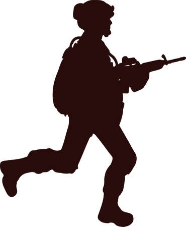 silhouette soldier6 向量圖像