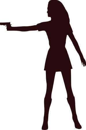 woman with gun silhouette3