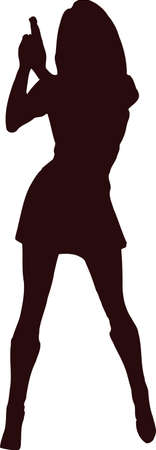 woman with gun silhouette7 Illustration