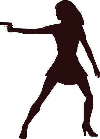 woman with gun silhouette8