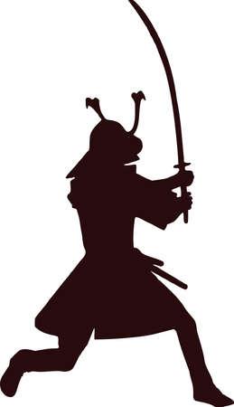 samurai silhouette 1 Ilustração