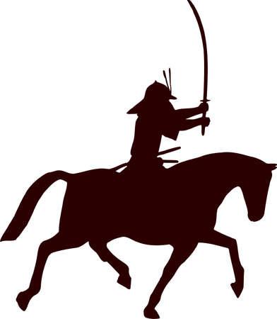 samurai horseman silhouette 1 Illustration