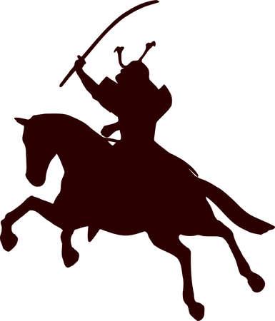 samurai horseman silhouette 3 Illustration