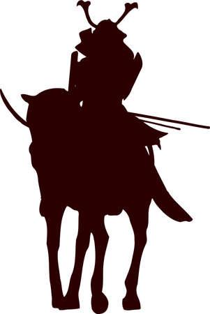 Samurai horseman silhouette