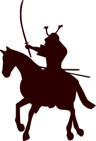samurai horseman silhouette 9 Illustration