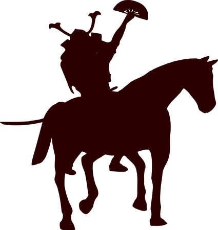 daimyo: samurai horseman with fan