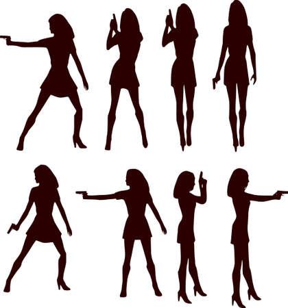 Woman With Gun Silhouette