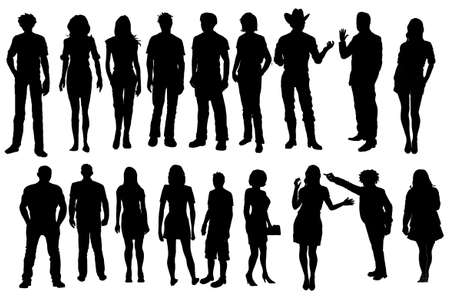 People Standing Silhouette Иллюстрация