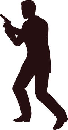 Mann mit Gewehr Silhouette 4 Standard-Bild - 76870338