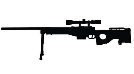 Sniper Riffle Silhouette Vectores
