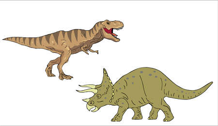 A vector illustration of Tyrannosaur and Triceratops. Çizim