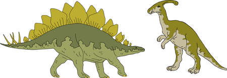 Parasaurolophus and Stegosaurus Drawing Illustration