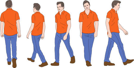 ベクトル - カジュアルな男が歩いて  イラスト・ベクター素材