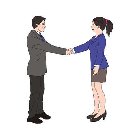 Pictogram voor mannelijke en vrouwelijke handen schudden.