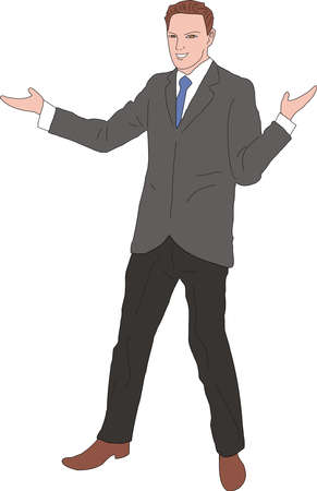 Vector illustration of executive businessman Presenting