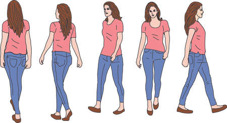 Casual Woman Walking on pink shirt Иллюстрация