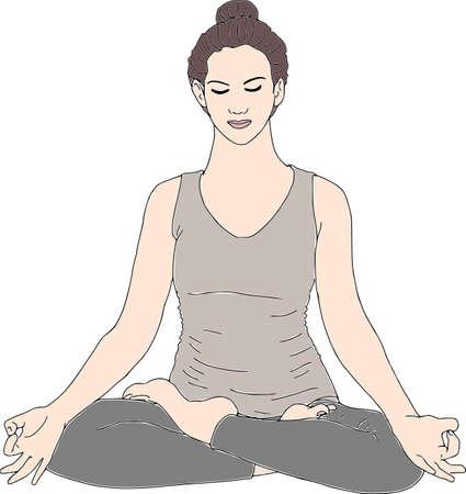 Vrouw in de vector van de Yogameditatie. Stock Illustratie