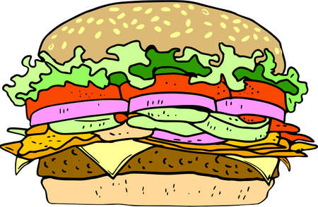 Double Cheeseburger in cartoon illustration.
