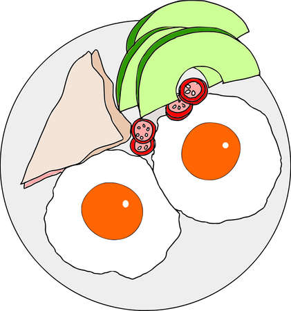 Avocado, egg open sandwiches in cartoon illustration. Illustration