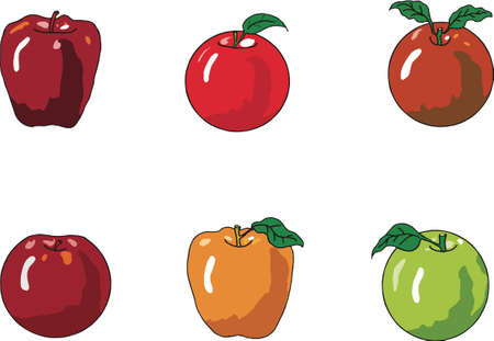 Apples icons set on white background. Vector illustration.