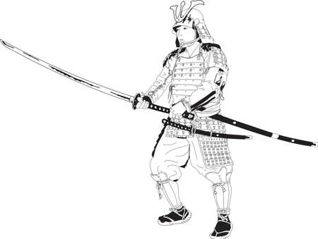 Vector - Drawing Samurai in Kabuto Armor