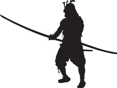 Vector - Silhouette Samurai in Kabuto Armor Illustration