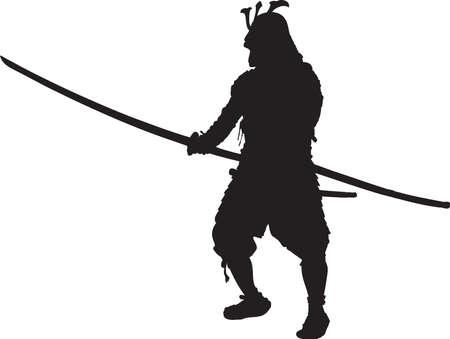 Vector - Silhouette Samurai in Kabuto Armor Ilustração